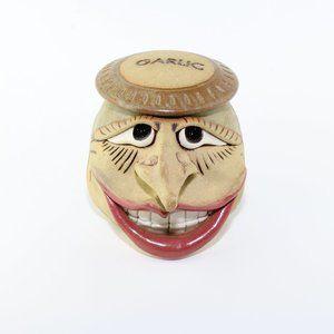 Pottery Mugly Face Garlic Pottery Jar
